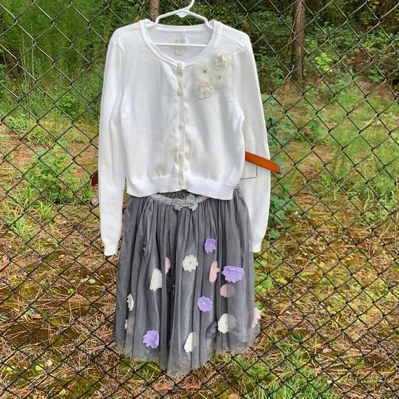 Christmas Cardigan Sweater & Tule Skirt w/ Flowers
